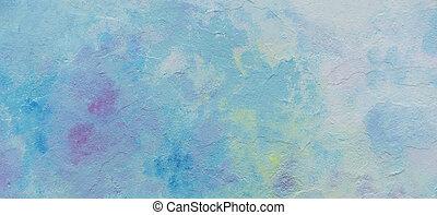 黄色, 抽象的, 手ざわり, 屋外で, 青, ペイントされた, ピンク, 白い壁, 背景