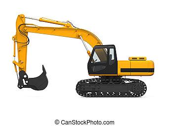 黄色, 掘削機, 隔離された