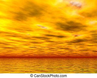 黄色, 海, そして, skie