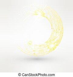 黄色, 渦巻, 背景, 抽象的