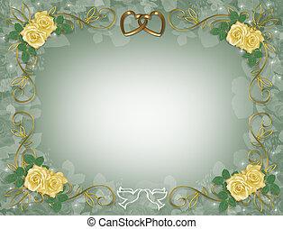 黄色, 結婚式, ばら, 招待