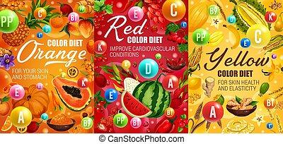 黄色, 赤, 食事, 色, 日, オレンジ
