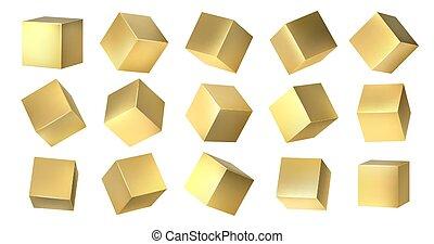 黄色, 金, 金属, design., 3d, 広場, ベクトル, セット, cubes., 形, ブロック, 角,...