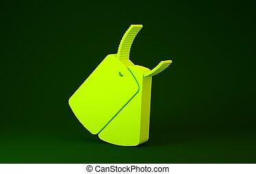 黄色, concept., 印。, イラスト, 3d, アイデンティティー, render, 緑, icon., 軍隊, 軍, アイコン, 犬, 隔離された, バックグラウンド。, タグ, minimalism