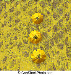 黄色, grungy, 花, 背景