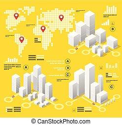 黄色, infographics, イラスト