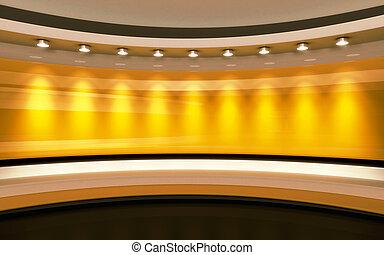 黄色, studio., yelow, 背中, drop., 3d, レンダリング
