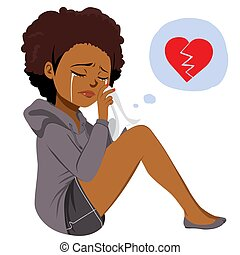 黑人妇女, 哭泣, heartbroken