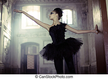 黑天鵝, 芭蕾舞舞蹈演員, 在, 移動