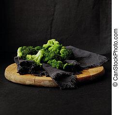 黑暗, 新鮮, broccoli, 背景