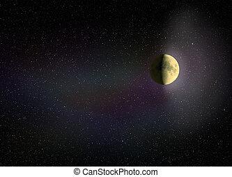 黑暗, 發光, 夜晚, 天空, 月亮