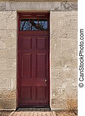 黑暗, 紅色, 木制, 入口, door., 前面, 觀點。