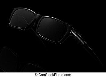 黑暗, 背景。, 太阳镜, 黑色