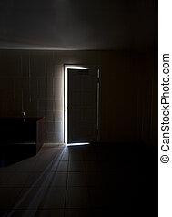 黑暗, 裡面, 一半開啟, 房間, 門