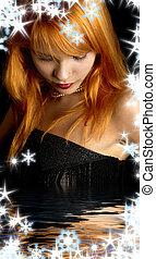 黑暗, redhead, 肖像