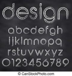 黑板, 摘要, 描述, 粉笔, 矢量, sketched, 字体