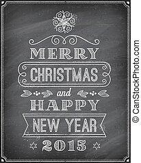 黑板, 矢量, 圣誕節卡片, 問候