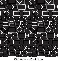 黑板, 粉笔, 头脑, 地图, seamless, 模式, 背景