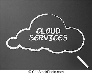 黑板, -, 雲, 服務