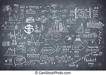 黑板, 黑板, 结构, infographics, 收集, 手, 画, 心不在焉地乱写乱画, 勾画, 商业, ecomomic, 财政, 元素
