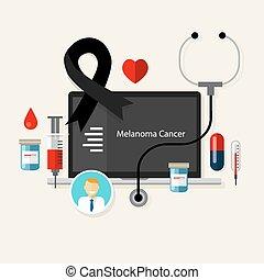 黑瘤, 皮膚癌, 黑色, 點, 醫學, 帶子, 治療, 健康, 疾病