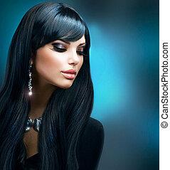 黑發淺黑膚色女子, 健康, 构成, 長的頭髮麤毛交織物, girl., 假期