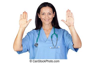 黑發淺黑膚色女子, 婦女醫生, 顯示, 她, 手