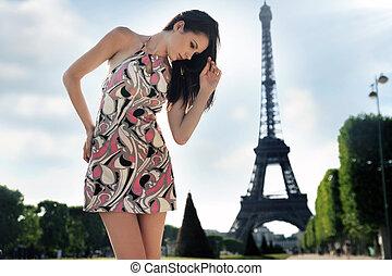 黑發淺黑膚色女子, 年輕, 塔, 背景, 矯柔造作, eiffel, 在上方