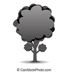黑白, 插圖, 被風格化, 樹。, 圖畫, design.