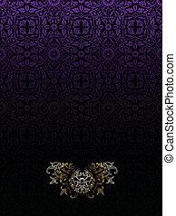 黑的紫色, 葡萄酒, 高, 豪華, 背景, 裝飾華麗