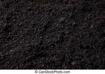 黑的背景, 由于, 頂部, 土壤