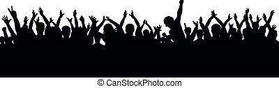 黑色半面畫像, 人群, 為歡呼