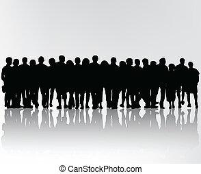 黑色半面畫像, 人群