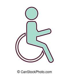 黑色半面畫像, 人, 在, 輪椅