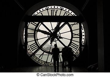 黑色半面畫像, 前面, the, 玻璃, 在中的鐘, 巴黎