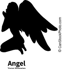 黑色半面畫像, 天使, 矢量, 女孩, 祈禱, 翅膀