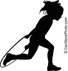 黑色半面畫像, 女孩, 跳繩