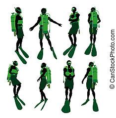 黑色半面畫像, 插圖, 潛水者, 美國人, 非洲男性, 水下呼吸器