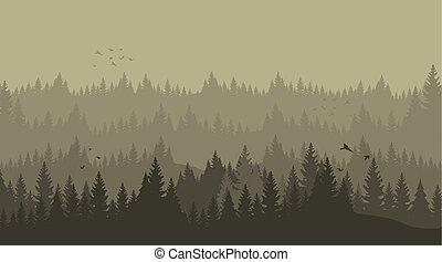 黑色半面畫像, 插圖, 矢量, 森林, 松樹, 卡通