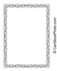 黑色半面畫像, 框架, 葉子, 黑色, 楓樹
