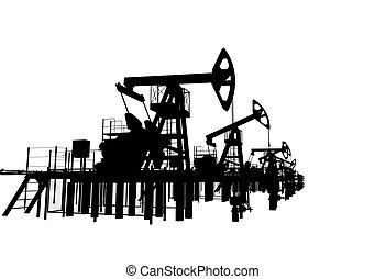 黑色半面畫像, 油, pump-jacks., 被隔离