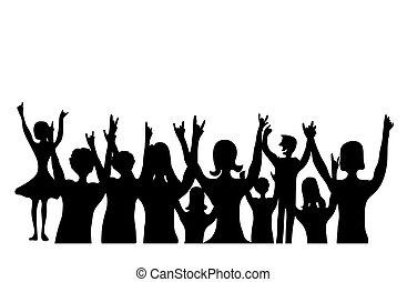 黑色半面畫像, 為歡呼, 人們