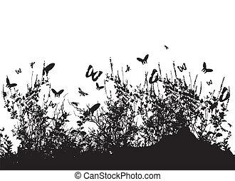 黑色半面畫像, ......的, 草, 以及, 昆虫