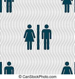 黑色半面畫像, ......的, a, 人, 以及, a, 婦女, 圖象, 徵候。, seamless, 圖案, 由于, 幾何學, texture., 矢量