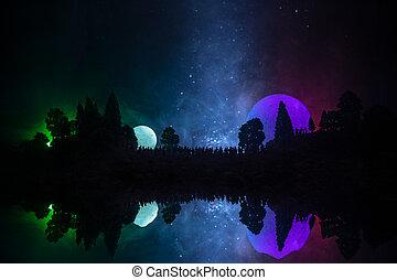黑色半面畫像, ......的, a, 大, 人群, ......的, 人在, 森林, 夜間, 觀看, 在, 上升, 大, 充分, moon., 裝飾, 背景, 由于, 夜晚天空, 由于, 星, 月亮, 以及, 空間, elements., 選擇性, 焦點。