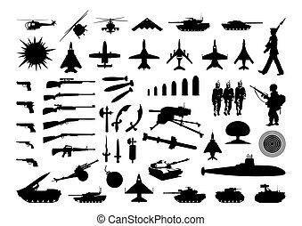 黑色半面畫像, ......的, the, 各種各樣, 武器, 以及, engineering., a, 矢量, 插圖