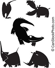 黑色半面畫像, 矢量, 動物,  collectio