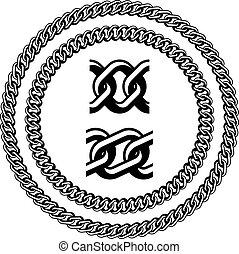黑色半面畫像, 矢量, 寶石, seamless, 鏈子