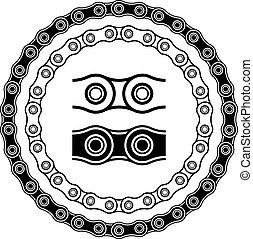 黑色半面畫像, 矢量, 自行車, seamless, 鏈子