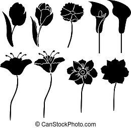 黑色半面畫像, 矢量, 花, 3